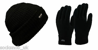 Mens Thermal Lined winter Gloves and Beanie Hat Set, by 3M Thinsulate, Black