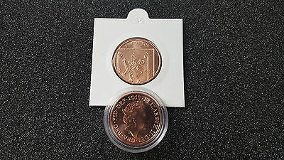 2015 Uncirculated 2p Two Pence Coin From Royal Mint Mounted in Holder or Capsule
