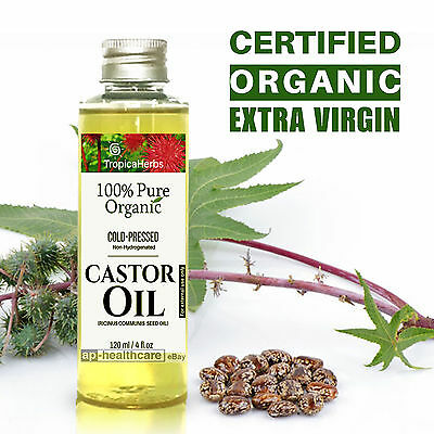 PURE CASTOR OIL 100% CERTIFIED ORGANIC COLD PRESSED HEXANE FREE Non-Hydrogenated