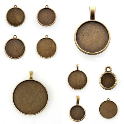 Antique Bronze Round Cameo Cabochon Pendant Setting Tray Blank Bezel Nickel Free