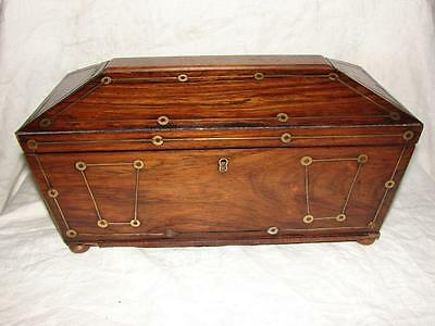 Victorian Rosewood/Mahogany Sarcophagus Twin Compartment Tea Caddy with Bowl