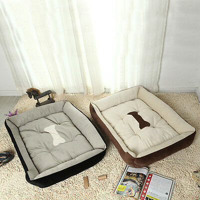 Warm Soft Fleece Pet Dog Kennel Cat Puppy Bed Bone Pattern Mat Pad House Cushion