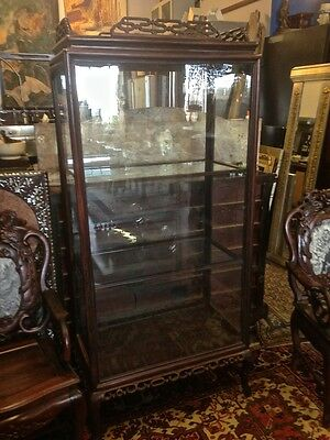 Antique 19th Century Chinese Huanghuali Display Cabinet Asian Antique Carved
