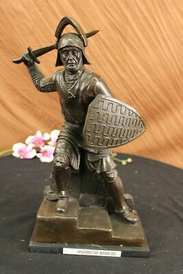 Bronze Warrior Viking Anglo Saxon Figure Marble Base Statue Sculpture Art
