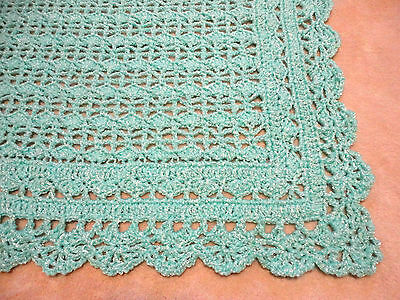 "Wonderful Mint Green Crocheted Baby Blanket 31""X41"" With A Scalloped Border"
