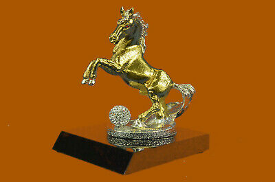 Sculpture Statue 24K-GOLD-EIGHT-MUSTANG-HORSE----ABSTRACT-MODERN-FIGURINE Bronze