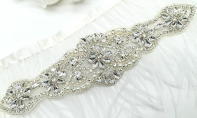 Beautiful crystal Motif hand Sewing Iron on Bridal Dress belt Clothes Applique