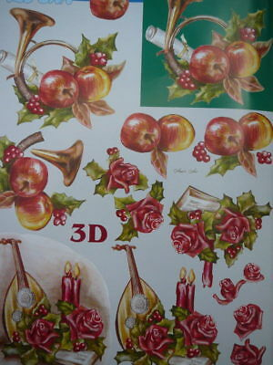 Christmas Card Making 3D Paper Tole Horn Lute Apple