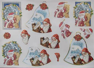 3D Paper Tole Card Making Embossed Christmas Santa Clause 2 Pictures