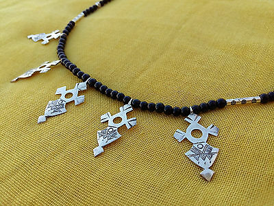 Handmade African Tuareg Cross Shatshat Necklace Ethnic Jewelry Silver Gypsy
