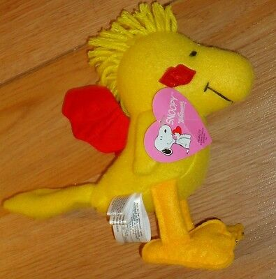"Peanuts WOODSTOCK 7"" plush by Whitman's Chocolates Valentines w/Red Wings Kiss"