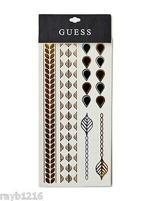 "NEW GUESS Metallic ""Leaf"" Flash Tattoo Set, 1 Package Sealed on Card"