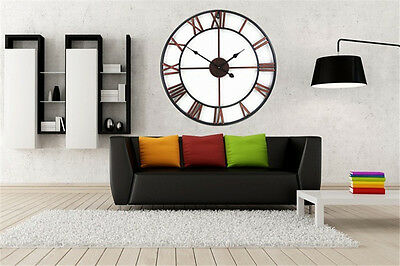 Large Wall Clock 80CM Industrial Style  Vintage French Provincial Wood Clock