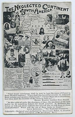 C1910 Pt Npu Religious Postcard The Neglected Continent Of South America R99