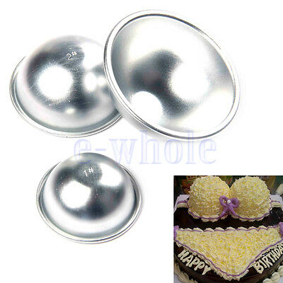 2pc NEW Trendy Aluminum Ball Sphere Mould Pastry Cake Baking Mold Size Choice WT