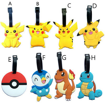 2016 Pokemon Go Pikachu Silicone Luggage Tag Suitcase Name Tag ID Tag for Kids