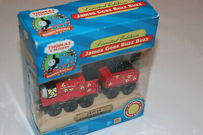 Thomas The Tank Engine Wooden Railway RARE JAMES GOES BUZZ BUZZ LIMITED EDITION