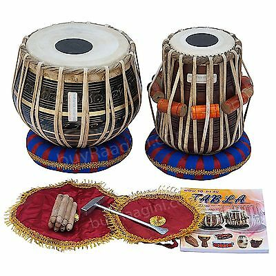 Finest Dayan with Book, Hammer, Cushions & Tabla Drum Set Black Brass Bayan 3 KG