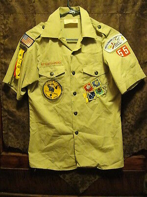 BSA Boy Scouts of America S/SLV Shirt ~ Size Youth LRG ~ 13 Patches ~ USA MADE