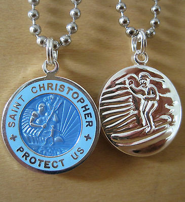 Saint Christopher Surf Medal Protector of Travel bb-bb Baby Blue-Baby Blue
