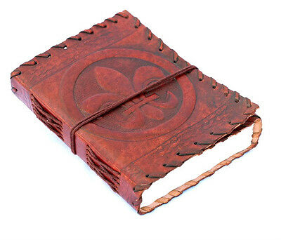 Handmade Leather Journal Diary Leather French Flower Bound Sketchbook Notebook