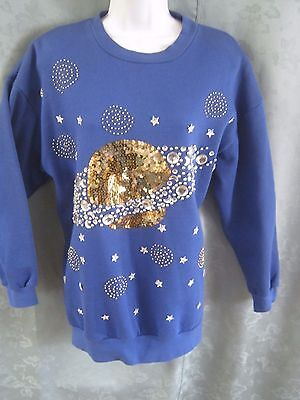 VTG Daizy Tunic Sweatshirt Size M Oversized Beads & Sequins Saturn Planet Stars