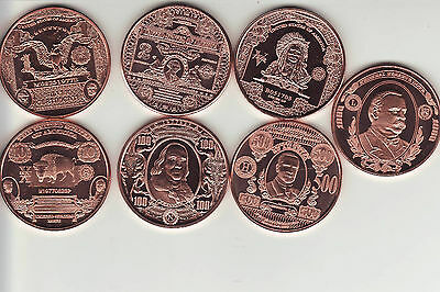 "1 oz. Copper Round Currency   BANK NOTE   Series  ""7 COIN SET"""