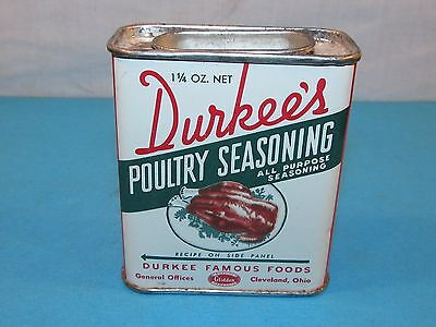 Vintage DURKEE'S POULTRY SEASONING Spice Tin Can Cleveland Ohio