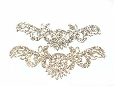 Beautiful Wedding Applique Rhinestone Bridal Applique Diamante Trim Beaded Motif