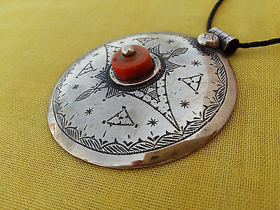 Handmade African Tuareg Necklace Ethnic Tribal Jewelry Silver Gypsy Hippy Coral