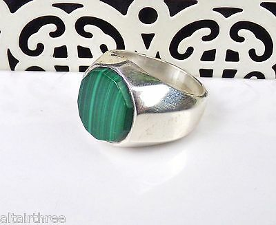 Taxco Sterling Silver Ring Mens Green Stone Mexican 925 Band Unisex