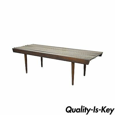 "48"" Vintage Mid Century Modern Walnut Slat Bench Coffee Table Nelson Danish Styl"
