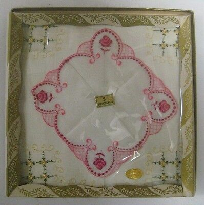 NEW Vintage Box Ladies FINE SWITZERLAND Hankies Handkerchiefs Embroidered Swiss