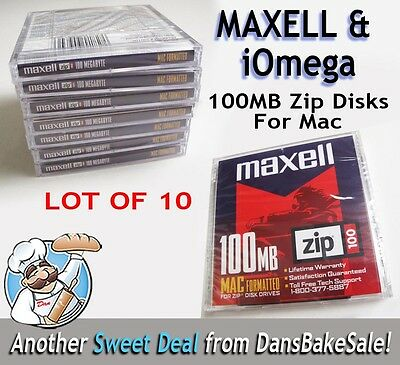 Maxell iOmega 100MB Zip Disk Drive Mac Formatted - Lot of 10 Singles