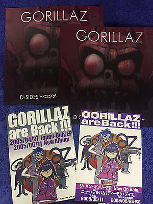 GORILLAZ are BACK D-Sides Japan flyer mini poster x4 BLUR Damon Albarn MINT set