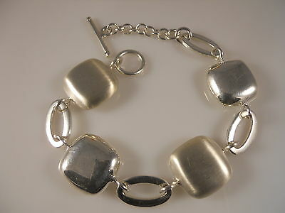 Sterling Silver, Fancy Style Hollow Square Silver Pieces Bracelet