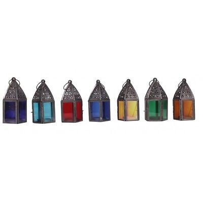 Set of 7 Chakra Metal Candle Lanterns - Table/Hanging Garden Decor Accessories
