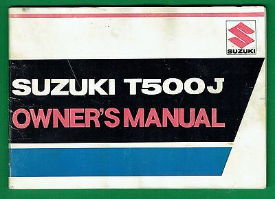 Suzuki T 500 J Owners Manual Good Condition Printed March 1972