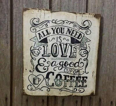 Coffee Rustic 30cm X 30cm - Rustic Vintage Style Timber Sign