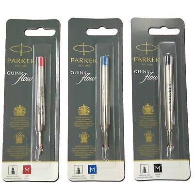 PARKER Ball Point Pen Refill BLACK BLUE RED - FINE MEDIUM BROAD You Choose