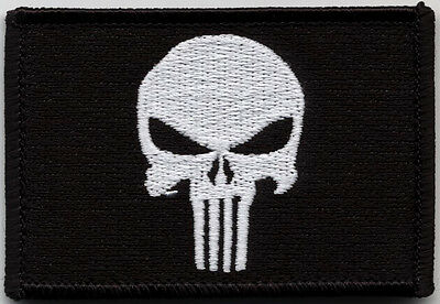Hook Fastener Punisher Skull Black Tactical Military Airsoft Patch Parche