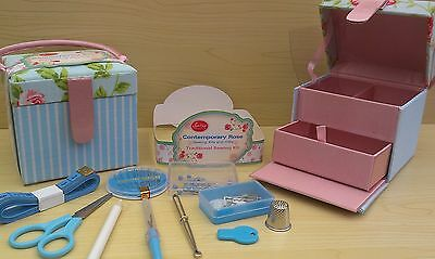 BNWT-Shabby Chic-Small-Contemporary Rose Traditional Sewing Kit-10 x 9 x 9 cm