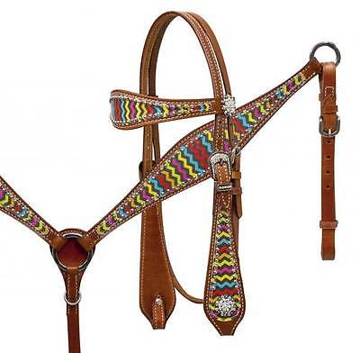 Showman Medium oil leather headstall and breastcollar set with CHEVRON PRINT!