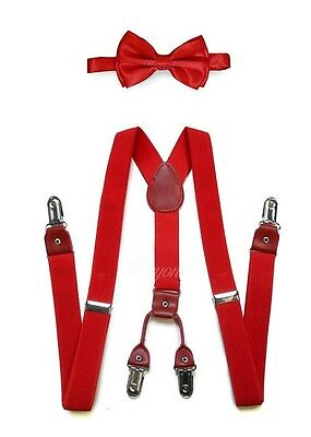 Adult Unisex Combo Deal 4 Clip-on Suspenders +  Bow-Tie Adjustable Red