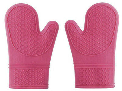 NEW Pair of 2 Fabric Lined Hot Pink Silicone Oven Gloves Kitchen Cooking Mitts
