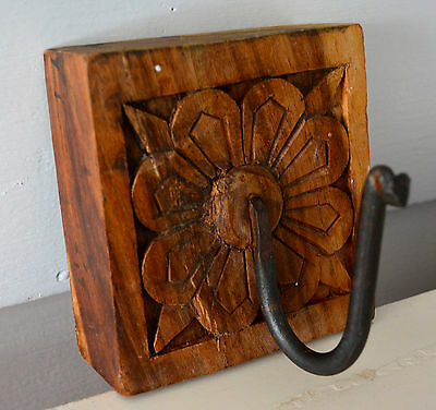 Vintage Wooden Wall Robe Hook Solid Wood Cast Iron Hook Carved Flower Farmhouse