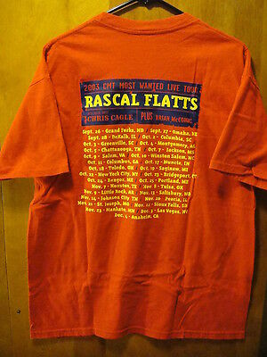 RASCAL FLATTS 2003 CMT Most Wanted Tour Concert Dates Back T Shirt Red Large