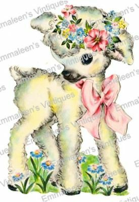 Vintage Image Retro Shabby Nursery Lamb With Pink Bow Waterslide Decals AN784