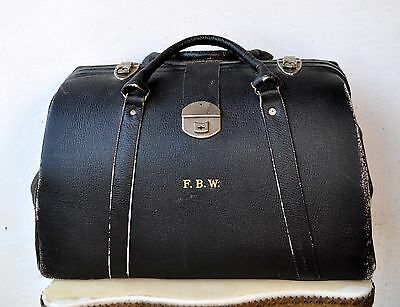 Rare Vintage Antique Black Leather Doctor's/Tradesman's Bag Case Extra Large