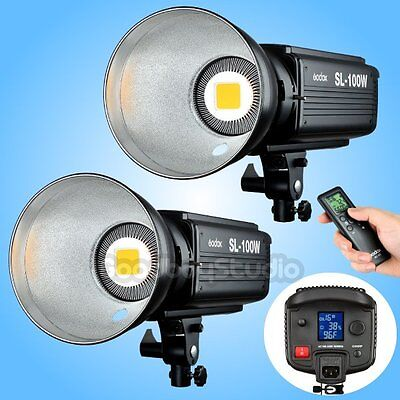 2PCS Godox SL-100W 2400LUX Studio LED Video Light Bowens Mount w/ Remote